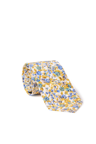 """James"" Floral Print Neck Tie - Yellow & Blue"