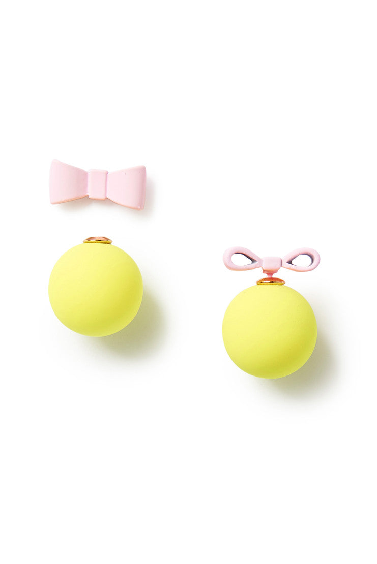 Bow and Sphere Stud Earring - Pink & Lemon