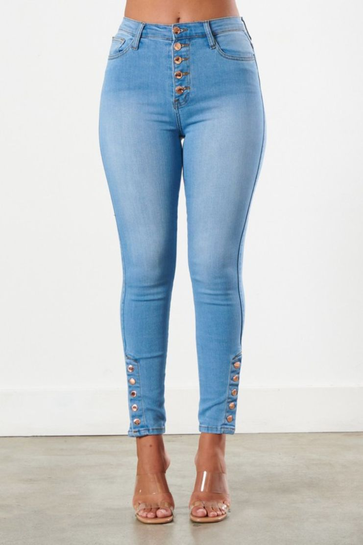 5 Button Ankle Skinny Jeans - Light Wash