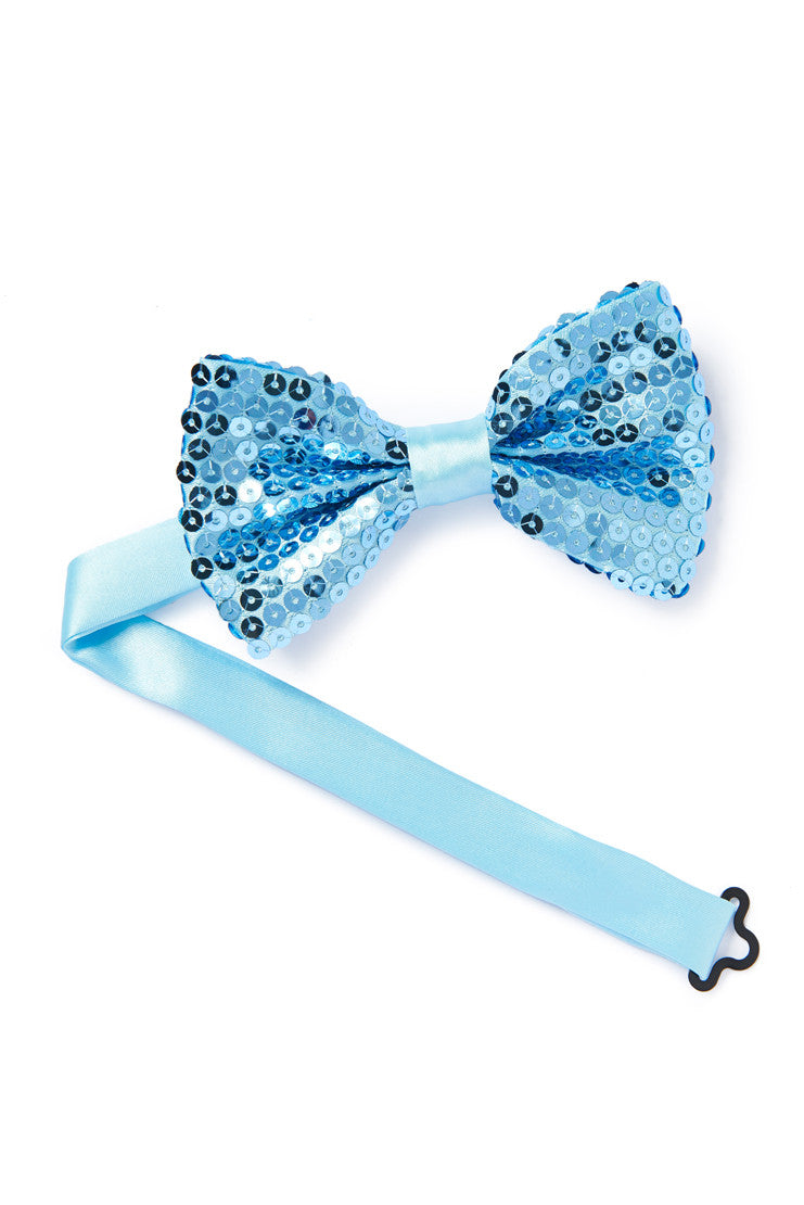 blue sequined bow tie