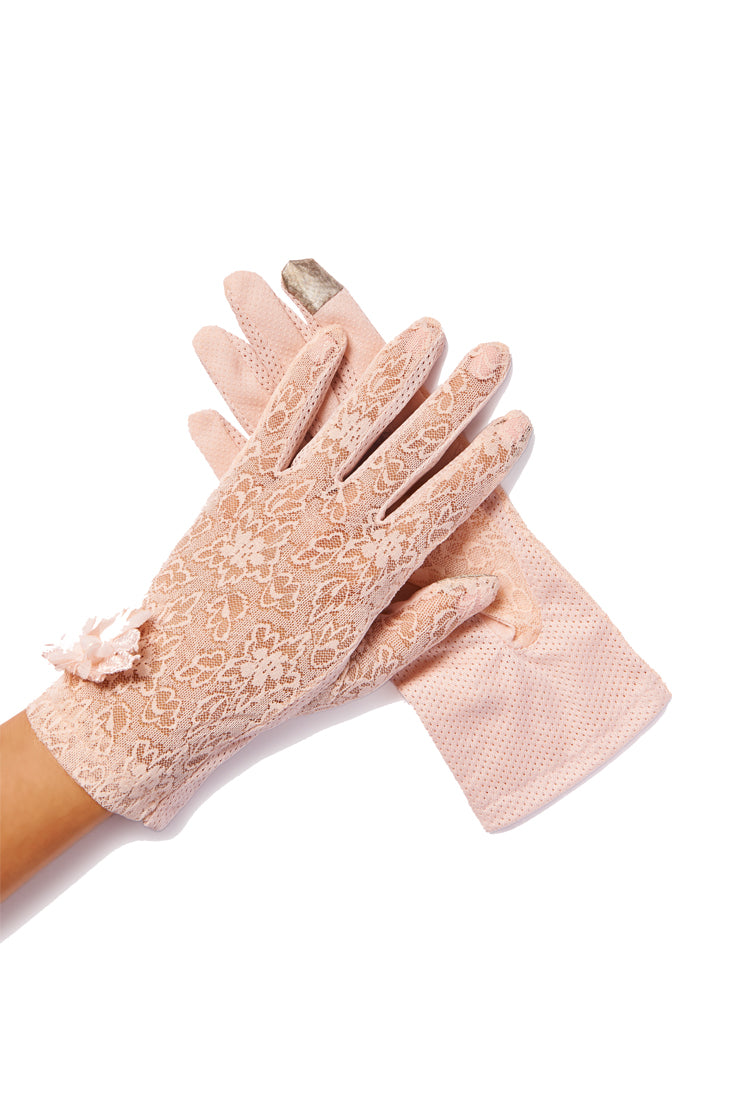 pink lace gloves