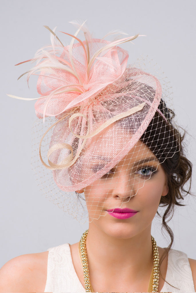 """Noor Fascinator"" - Light Pink And Ivory"