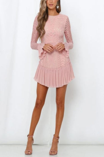 Chloe Pattern Ruffle Chiffon Mini Dress