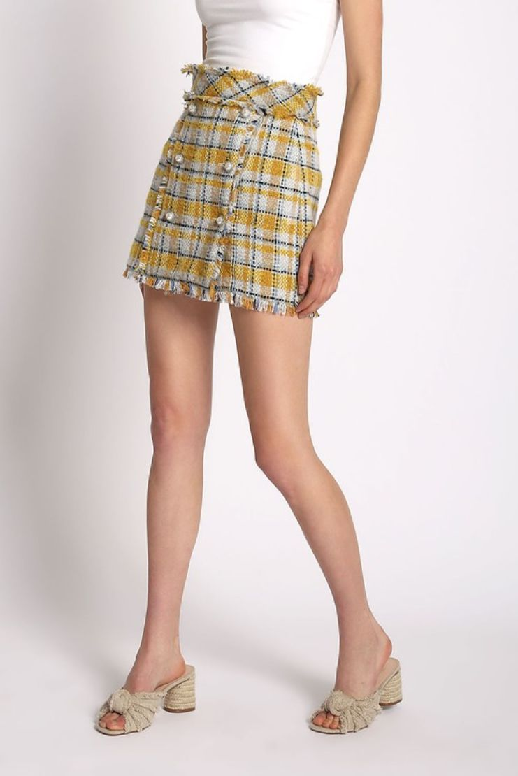 Cher Plaid Tweed Mini Skirt