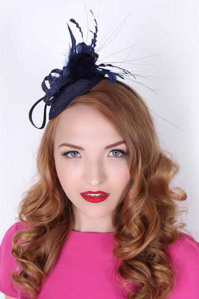 """Arianna"" Fascinator - Navy Blue"