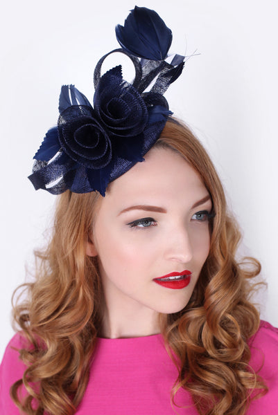 """Emelia Rose"" Fascinator - Navy Blue"