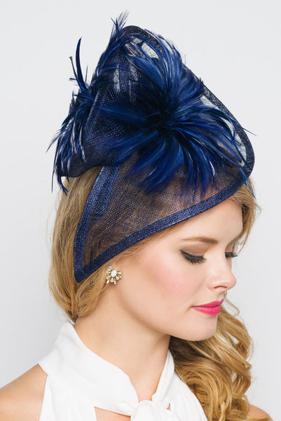"""Victoria"" Fascinator - Navy Blue"