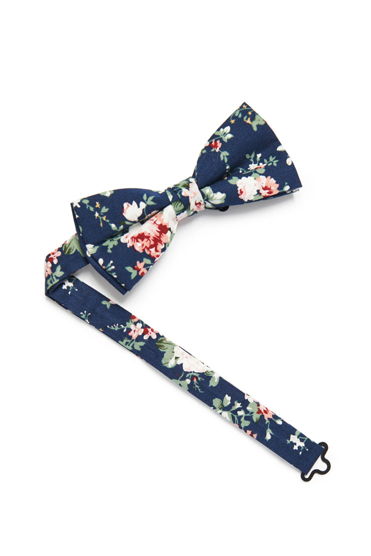 Shabby Chic Floral Bow Tie - Navy Blue