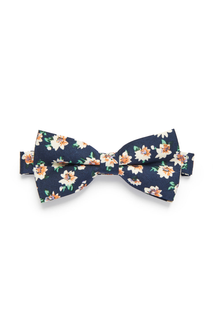 Daisy Floral Bow Tie - Navy Blue