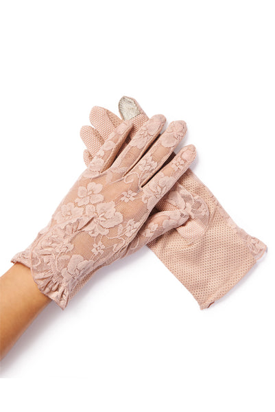 sheer pink lace gloves