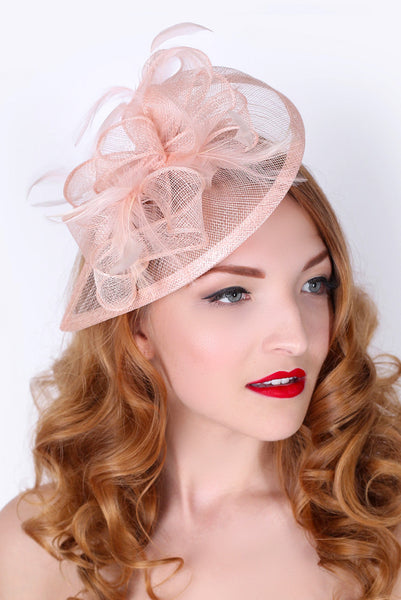 """Penny"" Fascinator - Nude Pink"