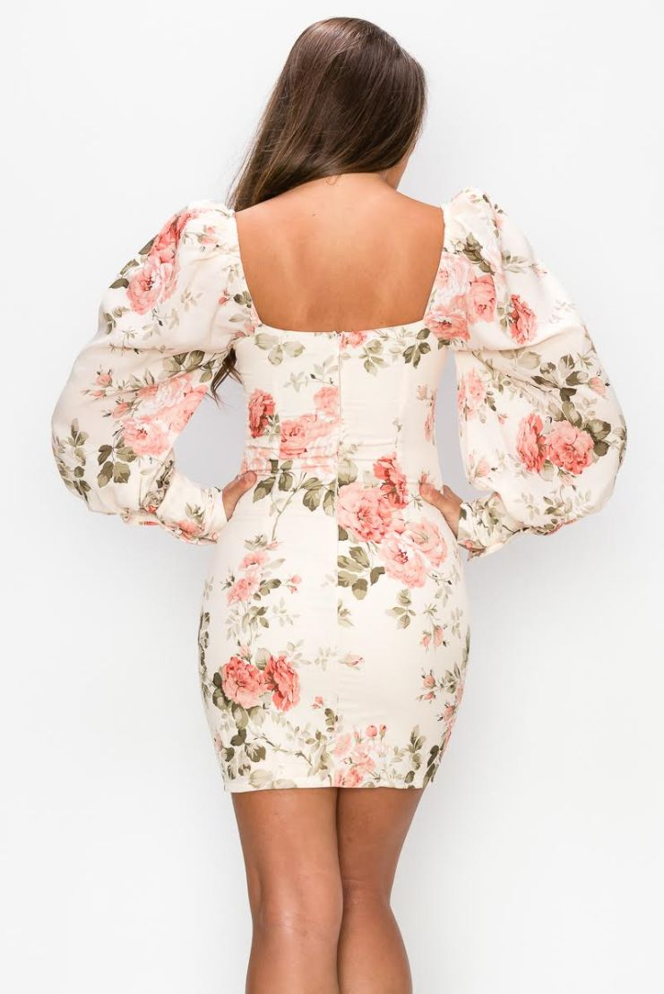 Cora Floral Long Sleeve Mini Dress