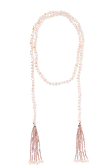 Open Pearl and Crystal Tassel Necklace