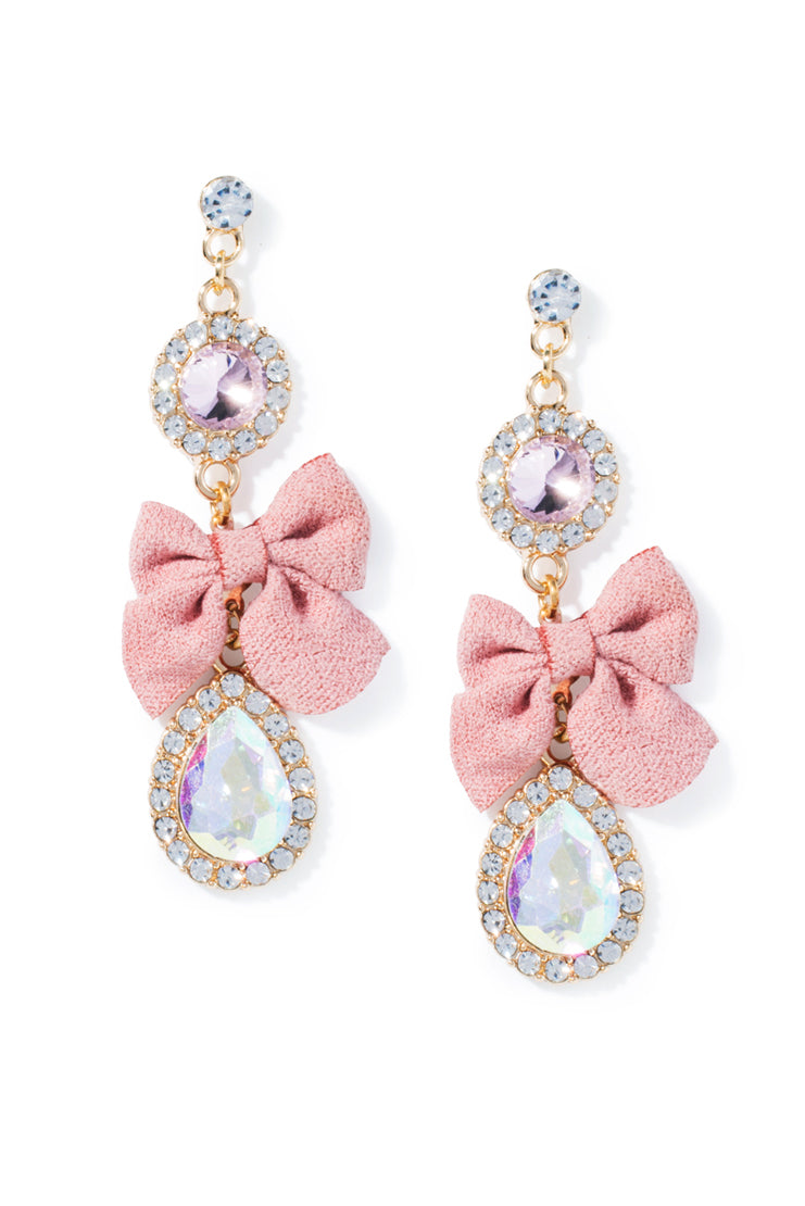 Pink Bow Crystal Drop Earrings