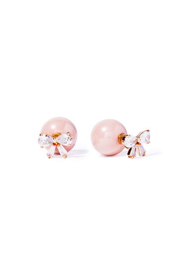 Pink Bow and Faux Pearl Stud Earring