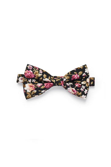 Shabby Floral Bow Tie - Black