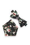 Shabby Chic Floral Bow Tie - Black
