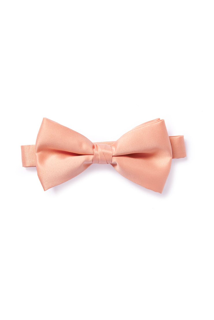 Pink Nude Satin Bow Tie