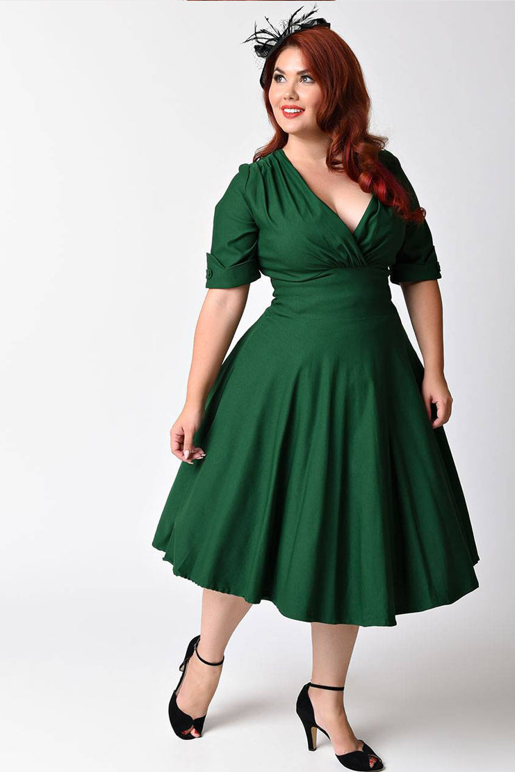 Emerald Green Sleeved Swing Dress (Plus Size)