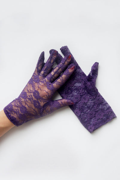 """Gracie"" Purple Lace Gloves"