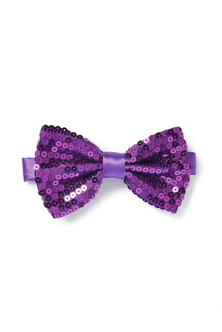 Men's Sequin Bow Tie - Purple