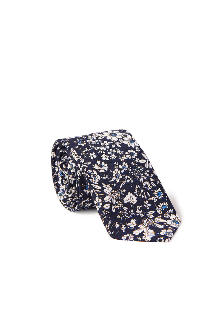 """Rainier"" Floral Print Neck Tie - Navy Blue"
