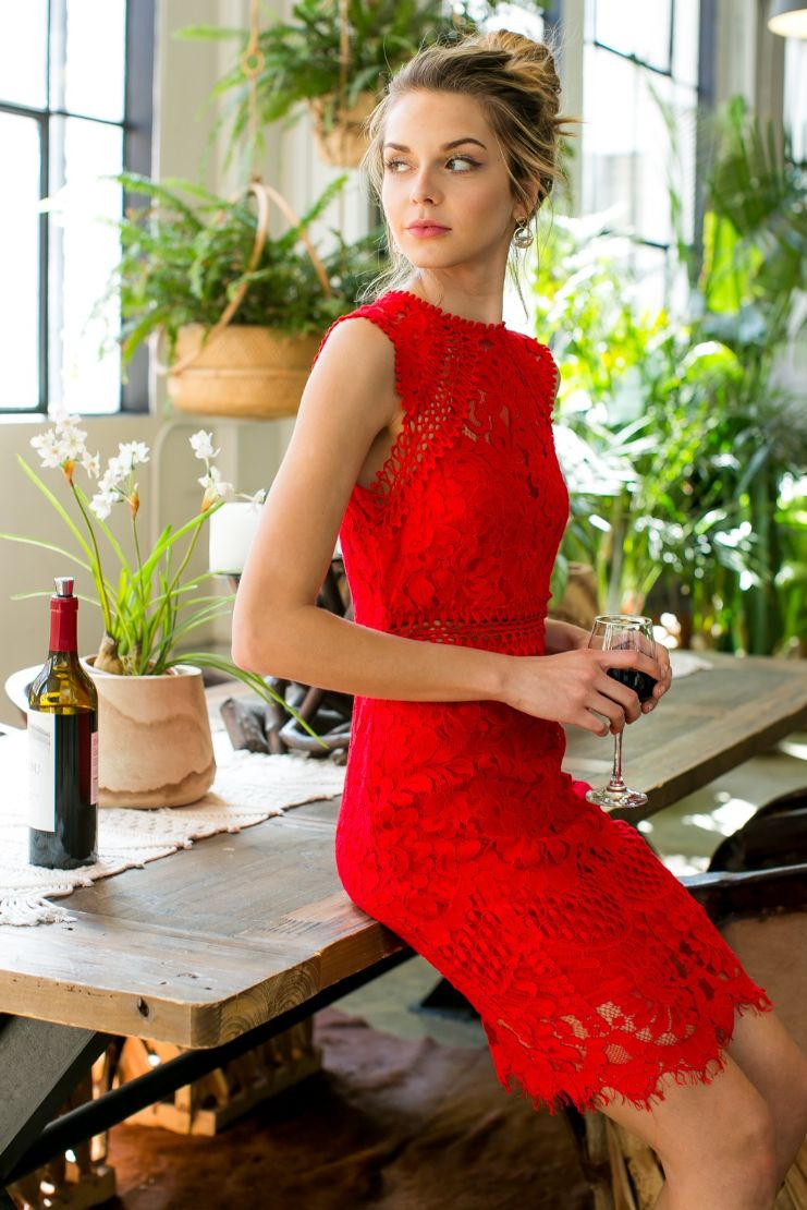 Stella Lace Sheath Dress - Red