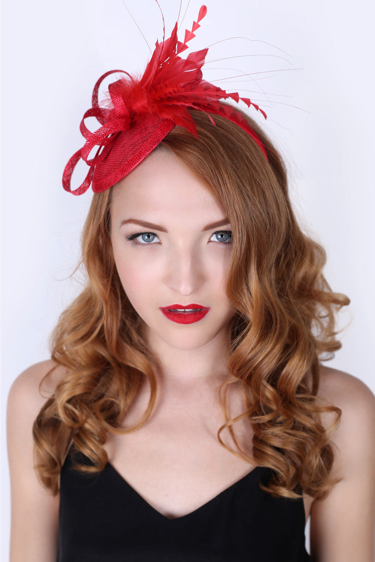 Red Mini Fascinator