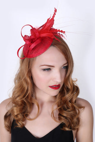 """Arianna"" Fascinator - Red"