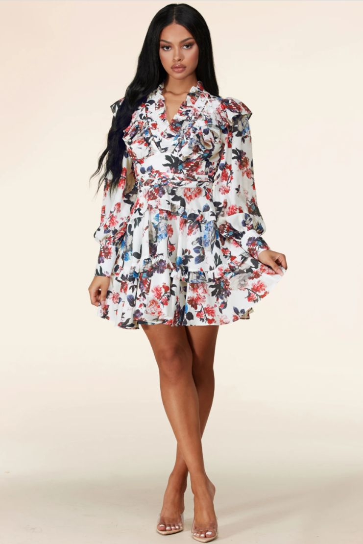 Miss Independent Floral Ruffle Long Sleeve Mini