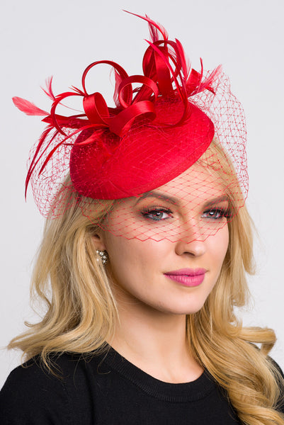 """Juliet"" Felt Fascinator - Red"