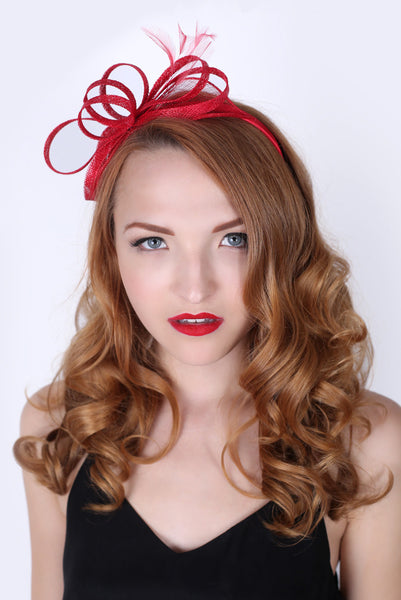 Red Fascinator Headband