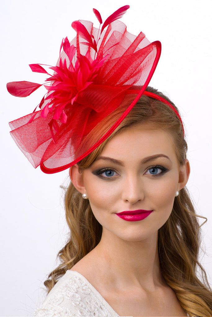 """Isla"" Fascinator - Red"