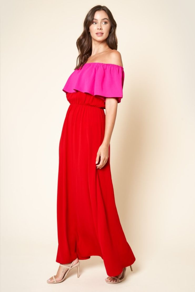 Mira Off-The-Shoulder Pop Over Maxi