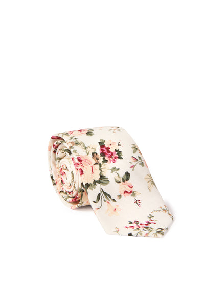 """Richard"" Shabby Chic Floral Neck Tie - Ivory"