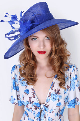 """Alexandria"" Wide Brimmed Sun Hat - Royal Blue"