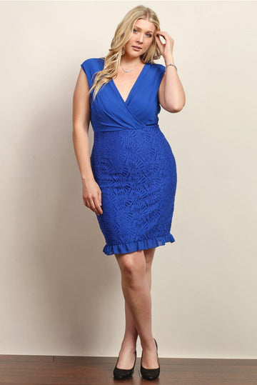CHIFFON & LACE COCKTAIL DRESS (PLUS SIZE) - Royal Blue