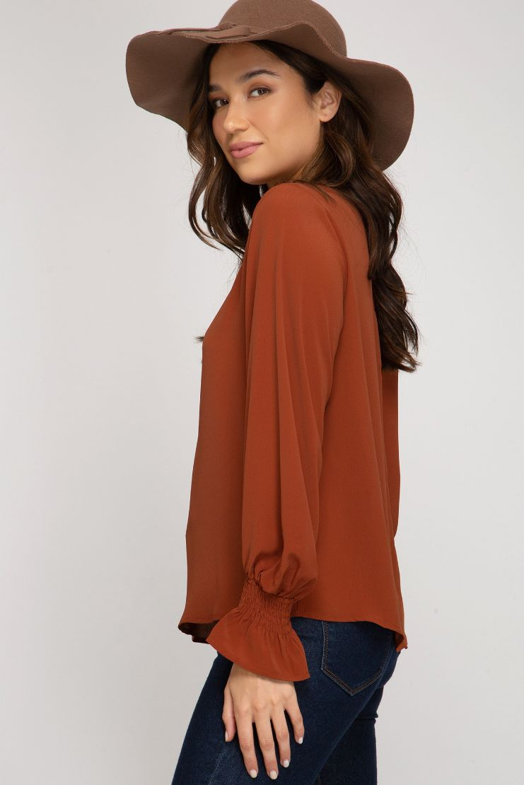 Smocked Long Sleeve Woven Top (2 Colors)