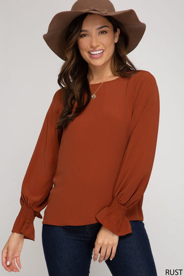 Smocked Long Sleeve Woven Top
