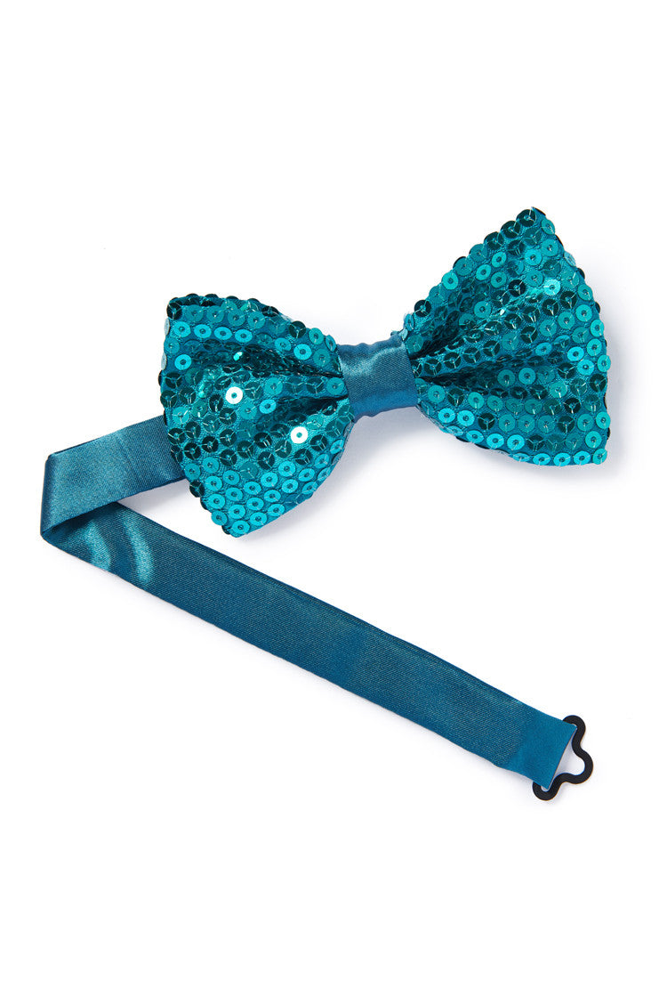 Teal Sequin Bow Tie