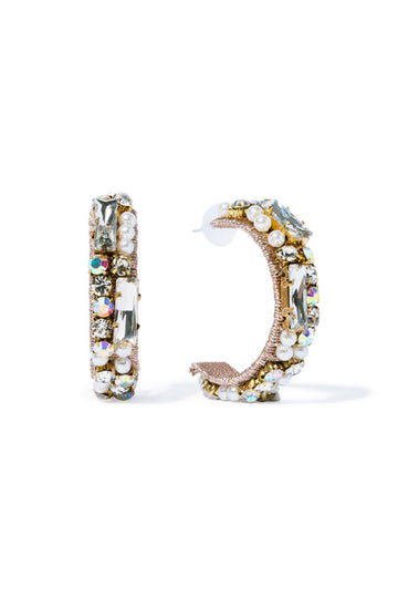 Glam Rockstud Hoops - Gold