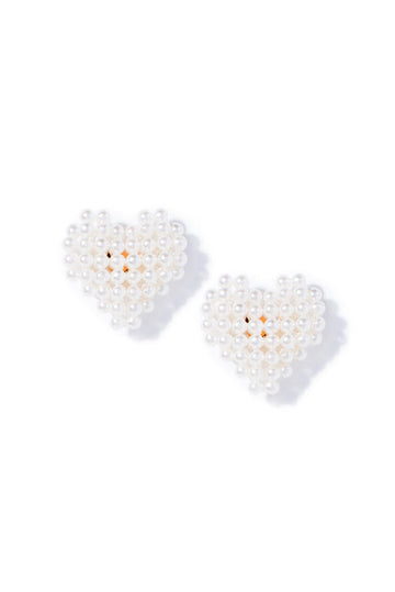 Cluster Pearl Heart Stud