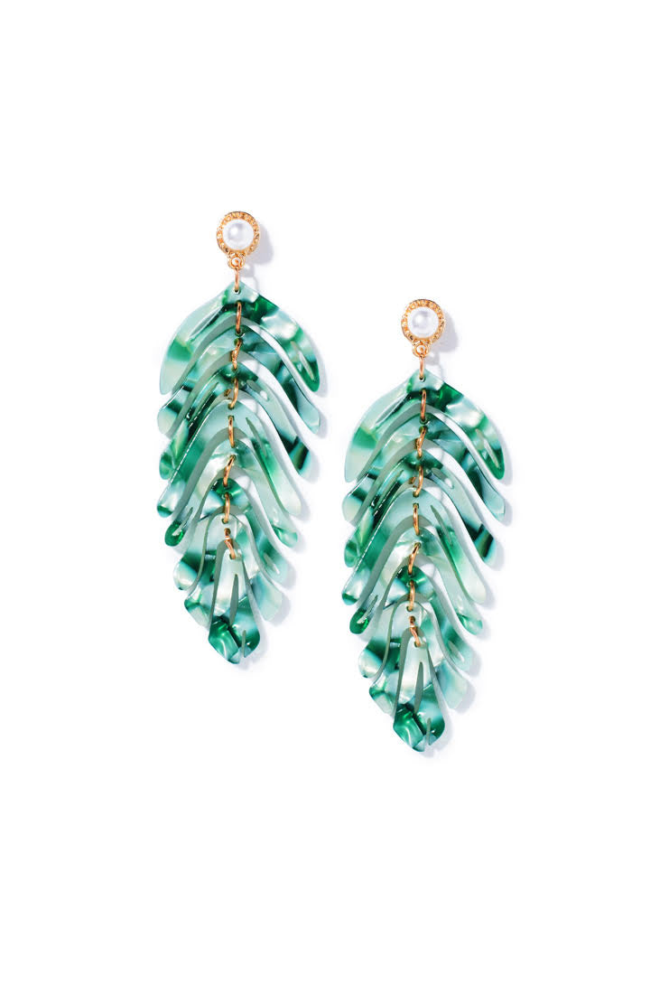 Pearl Palm Dangle Earrings - Green