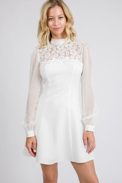 """Love At First Dress"" Lace Fit & Flare Dress - White"
