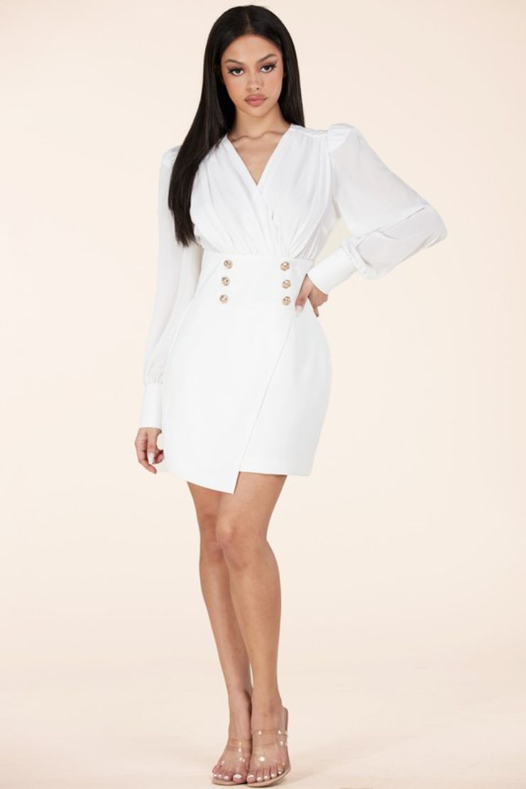 The Mrs Chiffon Asymmetrical Mini Dress