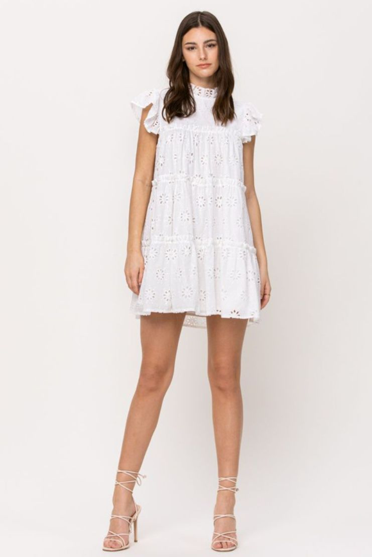 White Linen Night Babydoll Dress