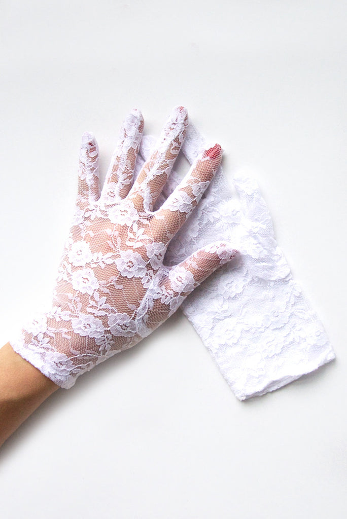 """Gracie"" White Lace Gloves"