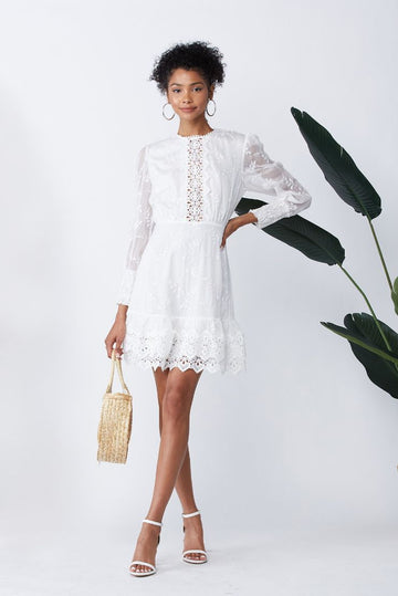 A Bridal Affair Lace Embroidered Mini Dress