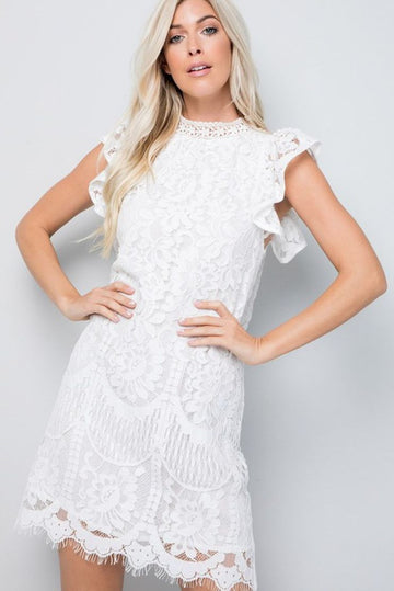 Just Call Me Wifey White Lace Shift Dress