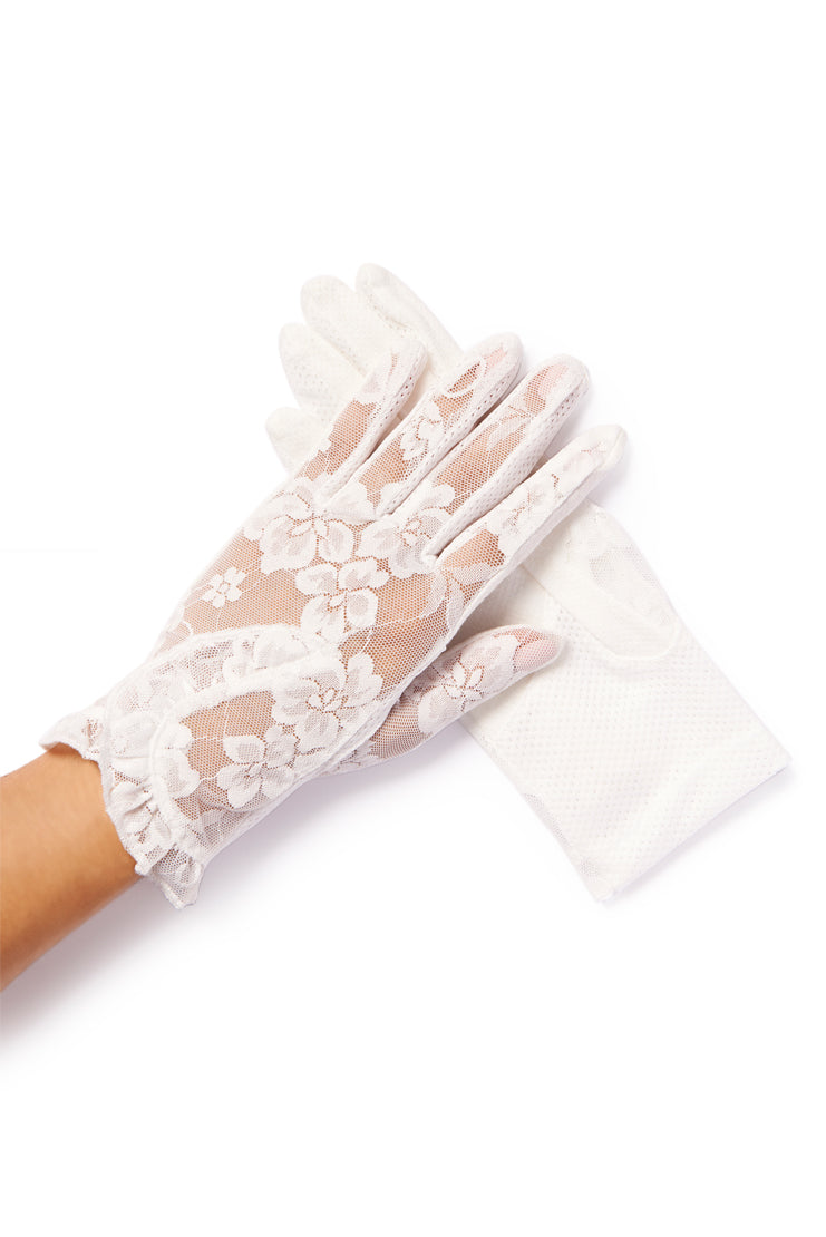 white lace summer gloves